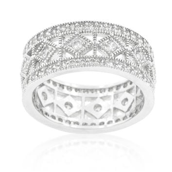 Clio Art Deco Wide Band Eternity Ring | 2.5ct | Cubic Zirconia | Silver