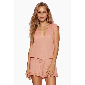 Annika Short Sleeve Romper - Whiskey Rose