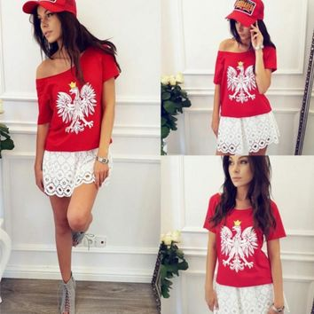 HOT RED PRINT SHORT SLEEVE TOP BLOUSE SHIRT