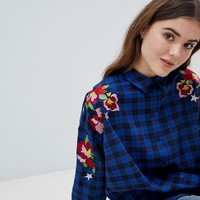 ASOS Oversized Boyfriend Check Shirt with Embroidery at asos.com