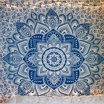 Mandala Tapestry Indian Wall Hanging Bohemian Hippie Queen Bedspread Throw Decor 150*152cm  10261