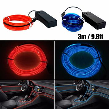 3m EL Car Stickers Neon Light Decor Auto Light Neon LED lamp Flexible EL Wire Rope Tube Waterproof LED Strip With Controller
