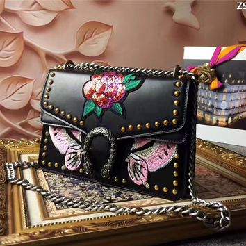 GUCCI WOMEN'S PEONY EMBROIDERY LEATHER CHAIN SHOULDER BAG
