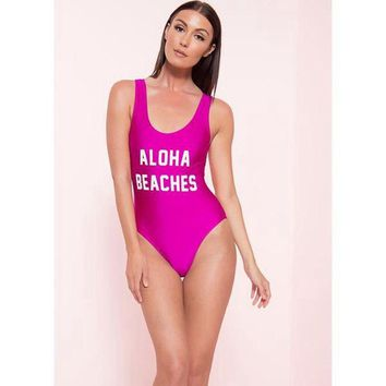 ALOHA BEACHES Letter One Piece Swimsuit Sexy Thong Swimwear Women Bikinis 2018 High Cut Bodysuit Monokini Funny Bathing Suit