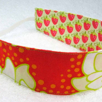 Child reversible headband cotton fabric red strawberries flowers peonies hair accessory girl kid toddler - Bandeau enfant - Ready to ship