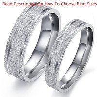 1PCS Fashion Jewelry Simple Style Mens OR Womens 316L Stainless Steel Lover's Dull Polish Rings Couples Wedding Bands,Unique Ring ,Silver ,From Milkle Gift
