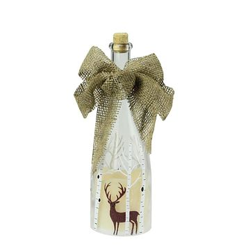 """10"""" LED Flameless Pillar Candle in a Clear Glass Bottle Lantern with Deer Accents"""
