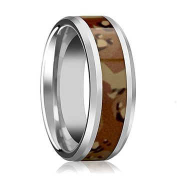 Military Camo Ring - Desert Camo - Tungsten Wedding Band - Beveled - Polished Finish - 8mm - Tungsten Wedding Ring