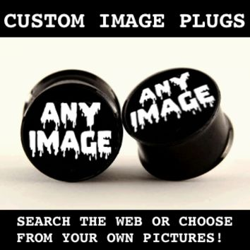 Custom Image on Black Plugs Body Jewelry | Plug Club