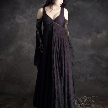 Willow Garden Long Lace Fairy Dress - Handmade by Rose Mortem