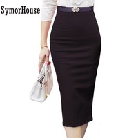 High Waist Midi Pencil Skirts Plus Size up to 5XL