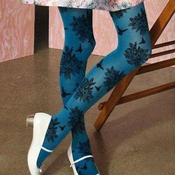 Teal Blue Butterfly And Floral Tights