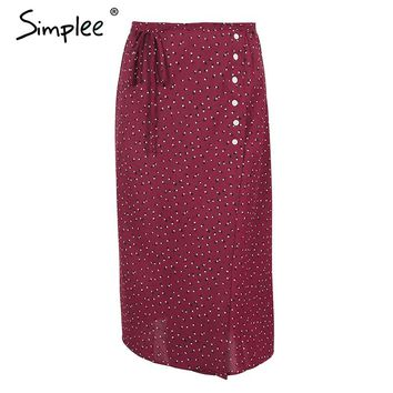 Simplee Vintage button wrap long skirt women Chic print high waist maxi skirt 2018 Casual beach summer skinny boho skirt female