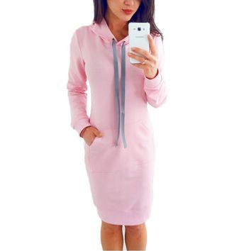 Women sporting dress with pockets 2017 Autumn casual long sleeve bodycon pencil drawstring hoodie Slim fit pullover winter dress