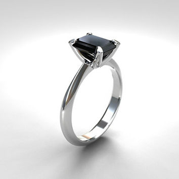 Black spinel engagement ring, emerald cut, engagement ring, white gold, solitaire, spinel ring, gothic, emerald cut spinel, black, simple