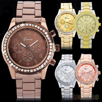 Geneva Bling Crystal Women Girl Unisex Stainless Steel Quartz Wrist Watch BHBU