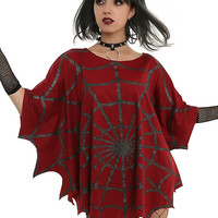 Glitter Web Red Poncho