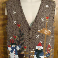Snowmen at the North Pole Funny Ugly Sweater Vest for a Christmas Party