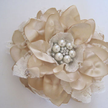 Champagne Satin and Lace Wedding Flower Hair Clip Bride, Mother of the Bride, Bridesmaids Prom with Pearl and Rhinestone Accent