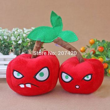 5.5inch Cute Plant Vs Zombies Series Plant Double Cherry Bombs Plush Toy Doll,1pcs/pack