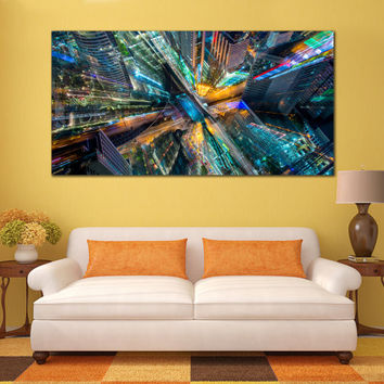 Abstract City Canvas - City of Art Framed Print, Abstract Modern Art Print for Home or Office Decoration