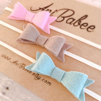 Teal Felt Bow Headband Set, Pink Felt Bow Headband, Tan Felt Bow Headband, Felt Bow headband set, Felt Bow Headbands