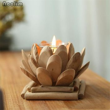 NOOLIM Handmade Wood Lotus Candle Holder Meditation Flower Buddha Candlestick Wedding Bar Party Home Decoration