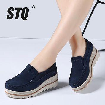 STQ 2017 Autumn women flats shoes thick soled platform shoes leather suede casual shoes slip on flats creepers moccasins 3088