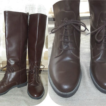 Vintage 80s Leather Lace Up Renaissance Riding Boots 7. 5 Knee Flat Hipster BRAZIL