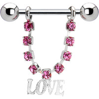 Pink Gem Love Nipple Ring | Body Candy Body Jewelry