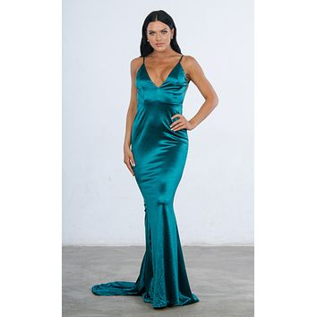 Indie XO Glowing Goddess Sleeveless Spaghetti Strap Plunge V Neck Ruched Back Mermaid Maxi Dress - 2 Colors Available