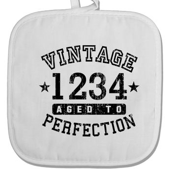 Personalized Vintage Birth Year Distressed White Fabric Pot Holder Hot Pad by TooLoud