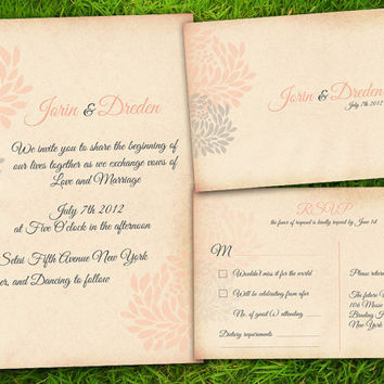 DIY Printable - Vintage Flowers Peach Grey Customizable Classic Wedding Invitation Card