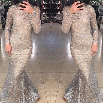 2018 Sexy Shiny Glitter Lining Floor Length Party Dress Transparent Long Sleeve Back Zipper Hollow Out Bodycon Silver Maxi Dress