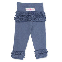 RuffleButts® Faux Denim Pant with Ruffle Trim