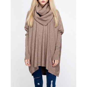 Chic Women's Cowl Neck Pure Color Sweater
