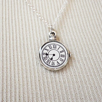 Clock Necklace - Charm Necklace - Tiny Necklace - Delicate Necklace - Silver Necklace - Silver Jewelry - Dainty Clock Neckkace - Clock Charm