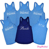 Bridal Party SET of 6 Tank Tops with Wedding Date - Bridesmaid Gifts, Bride Tank Top
