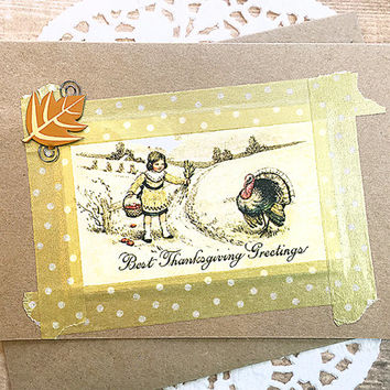 """Best Thanksgiving Greetings Note Card, Vintage-Look, Turkey, Harvest, Sweet, Leaf, Little Girl, Thankful, Keep in Touch, Happy - 4"""" x 5.5"""""""