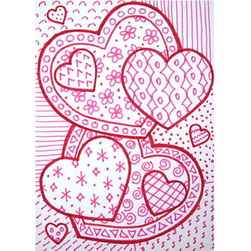 OOAK red and pink heart zentangle ACEO, heart drawing, zen doodle