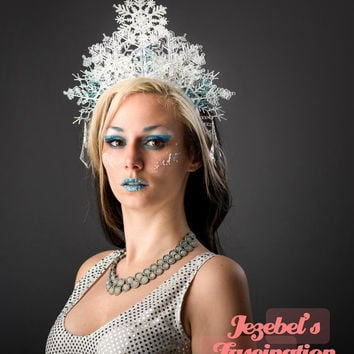 Snow Flake Ice Queen Crown Elsa Fairy Bridal Princess Headdress Frozen Maiden Winter Lady Fascinator Blue Headpiece Costume Party Headband