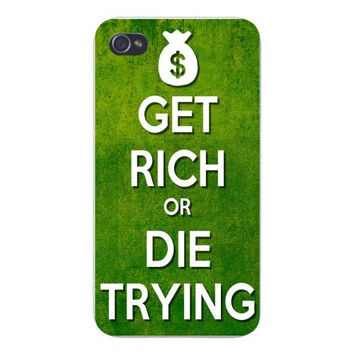 Apple Iphone Custom Case 4 4s Snap on - 'Get Rich or Die Trying' w/ Bag of Money