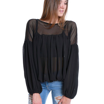Flash Back Blouse - Black Sheer