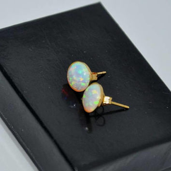 Gold Earrings, Opal Stud Earrings,  8mm Stone, Blue Opal,  Pink Opal,  Blue Green Opal,  White Opal,  Opal Jewelry