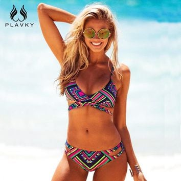 Sexy Retro Aztec Crossover Biquine Swim Bathing Suit Female Swimwear Brazilian Cross Bandage Push Up Bikini Women Swimsuit