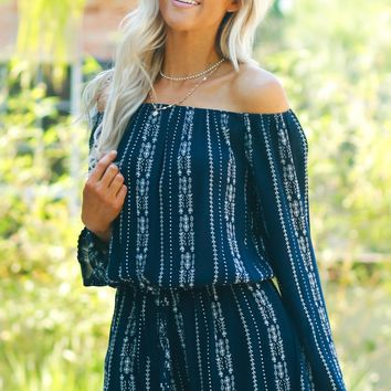Long Sleeve Print Romper Navy
