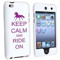 Apple iPod Touch 4th Generation White Rubber Hard Case Snap on 2 piece Purple Keep Calm and Ride On Horse