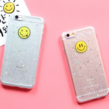 Smiley Face Twinkle Case for iPhone 7 7Plus & iPhone se 5s 6 6 Plus Best Protection Cover +Gift Box-104