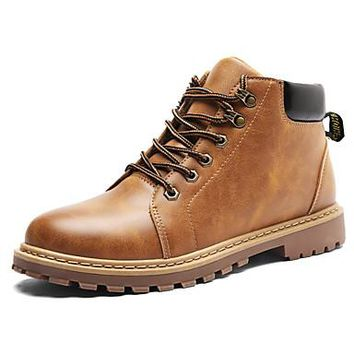 Men's Boots Combat Boots Fall Winter Leatherette Casual Outdoor Office & Career Lace-up Flat Heel Brown Yellow Gray Flat
