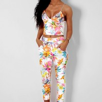 Mardi Gras Multicolour Floral High Waisted Crepe Trousers | Pink Boutique